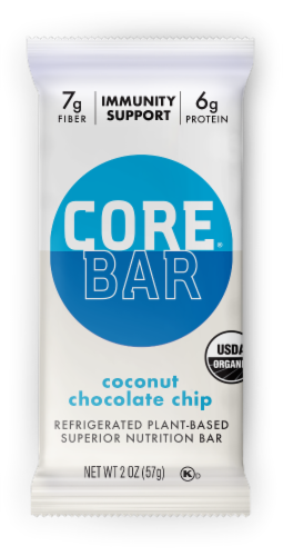 CORE Foods Coconut Chocolate Chip Plant-Based Nutrition Bar Perspective: front