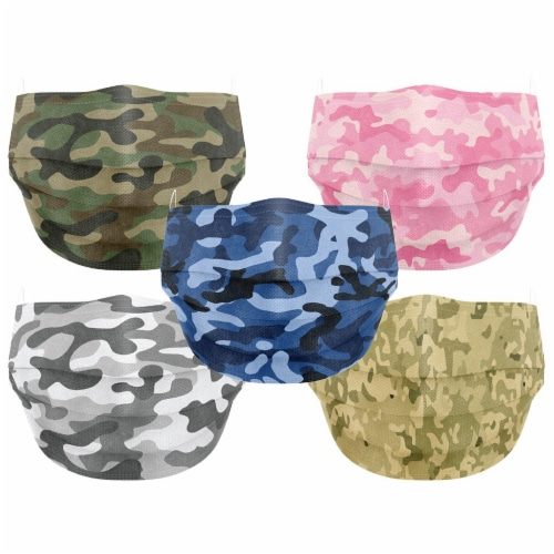 Co.Protect Premium Camo 3-Layer Adult Disposable Face Masks Perspective: front