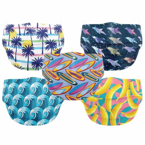 Co.Protect Premium Surfs Up 3-Layer Kids Disposable Face Masks Perspective: front