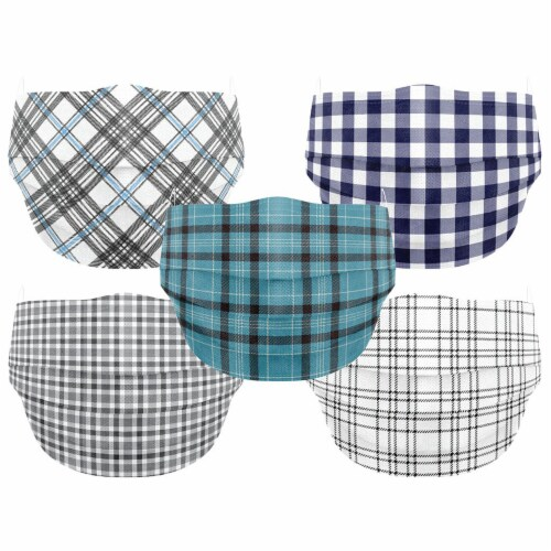 Co.Protect Premium Black & Blue Plaid 3-Layer Adult Disposable Face Masks Perspective: front