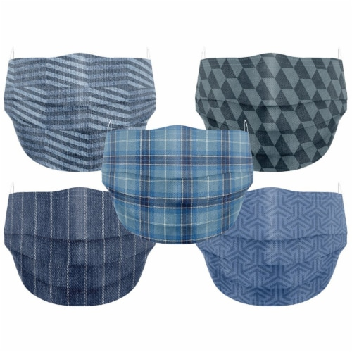 Co.Protect Premium Denim 3-Layer Adult Disposable Face Masks Perspective: front