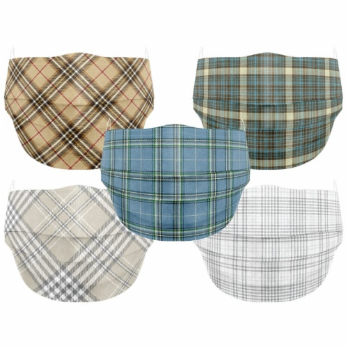 Co.Protect Premium Classic Plaid 3-Layer Adult Disposable Face Masks Perspective: front