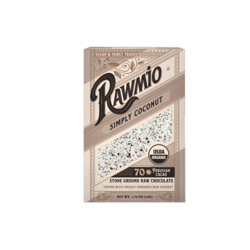 Rawmio Simply Coconut Raw Chocolate Bar Perspective: front