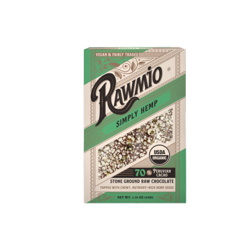 Rawmio Organic Simply Hemp Raw Chocolate Bar Perspective: front