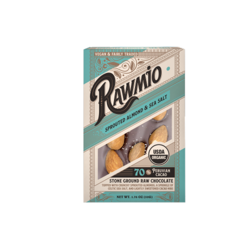 Rawmio Organic Sprouted Almond & Sea Salt Raw Chocolate Bar Perspective: front
