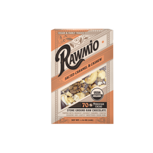 Rawmio Organic Coconut Caramel & Crushed Cashew Raw Chocolate Bar Perspective: front