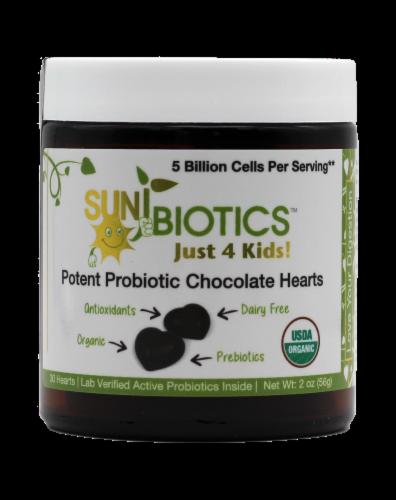 Sunbiotics Just 4 Kids Potent Probiotic Chocolate Hearts Perspective: front