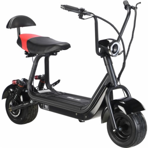 MotoTec Mini Fat Tire 48v 500w Electric Scooter Black Perspective: front