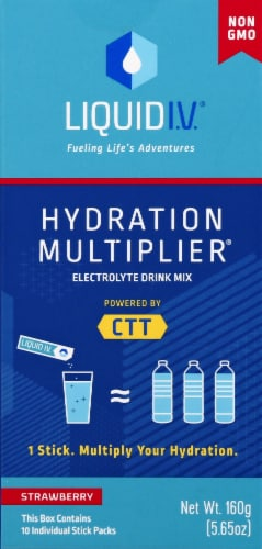 Liquid I.V. Hydration Multiplier Strawberry Electrolyte Drink Mix Sticks Perspective: front