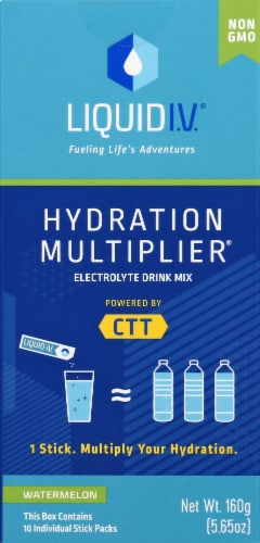 Liquid I.V. Hydration Multiplier Watermelon Electrolyte Drink Mix Sticks Perspective: front