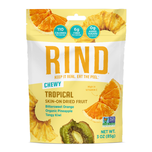RIND Snacks Tropical Blend Dried Fruit Superfood - 3oz Bags, 6 Bags Total Perspective: front