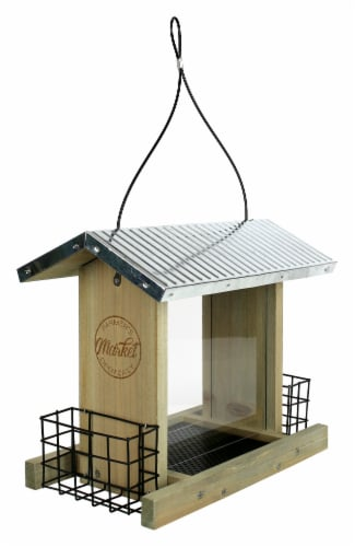 Wild Wings Galvanized Weathered Hopper Feeder Perspective: front
