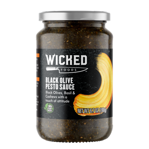 Wicked Foods Black Olive Pesto Sauce Perspective: front