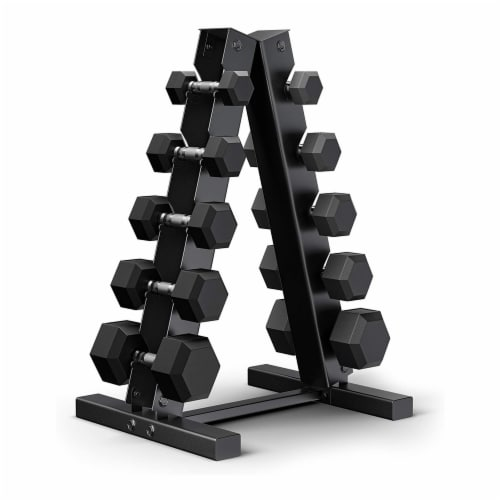 Epic Fitness 5 Pair of Hex Dumbbell Hand Weight Set with A Frame Storage Rack Perspective: front