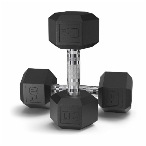 Epic Fitness Rubber Coated 20 Pound Hex Dumbbell Hand Weights, Set of 2 (1 Pair) Perspective: front