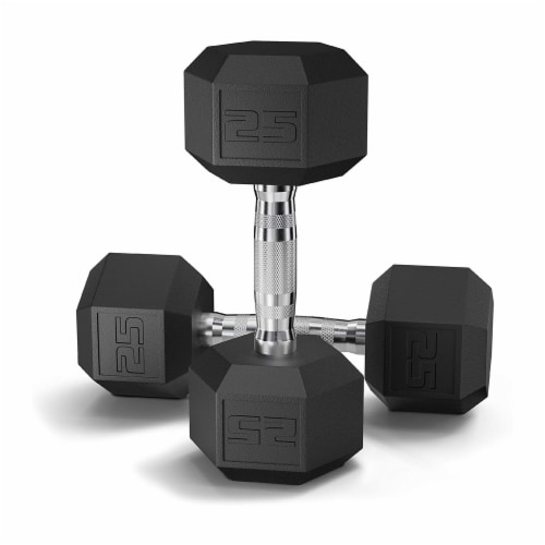 Epic Fitness Rubber Coated 25 Pound Hex Dumbbell Hand Weights, Set of 2 (1 Pair) Perspective: front