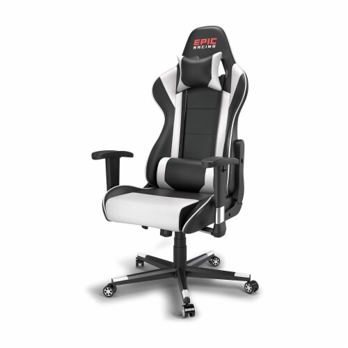 Epic Racing Gaming Chair for Teens & Adults, Back Lumbar Support, White/Black Perspective: front