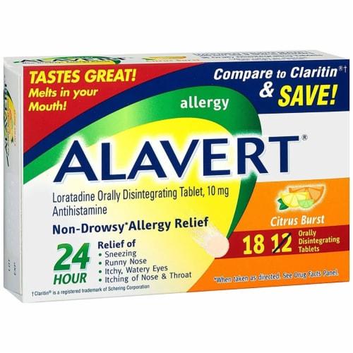 Alavert Citrus Burst Non-Drowsy Antihistamine Tablets 10mg Perspective: front