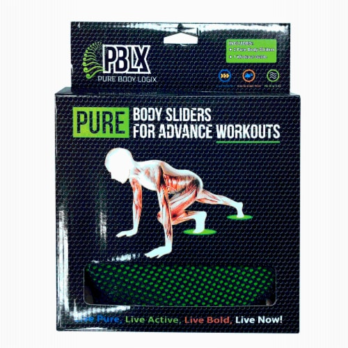 PBLX Floor Gliders with Workout Booklet Perspective: front