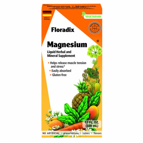 Floradix Magnesium Vegetarian Liquid Herbal and Mineral Supplement Perspective: front