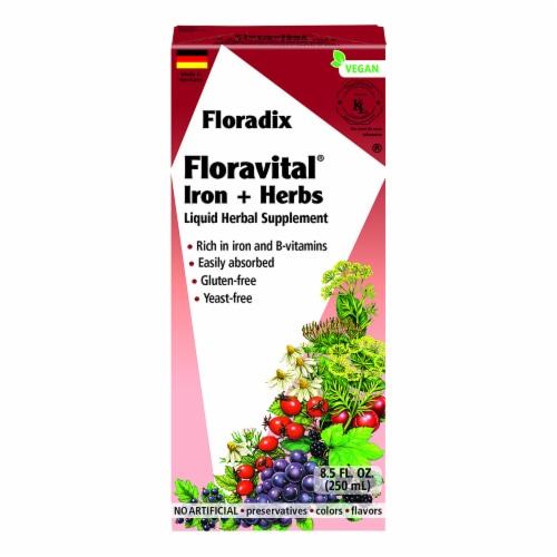 Floradix Floravital Iron + Herbs Liquid Herbal Supplement Perspective: front