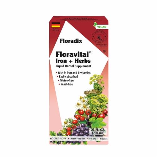 Floradix Iron & Herbs Yeast-Free Vegan Liquid Herbal Supplement Perspective: front