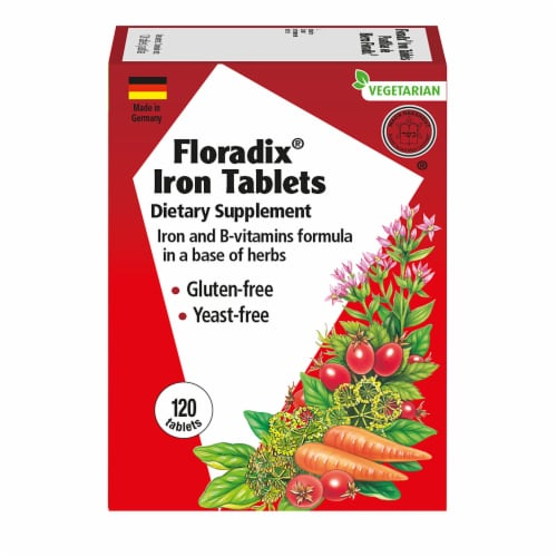 Floradix Iron Vegetarian Tablets Perspective: front
