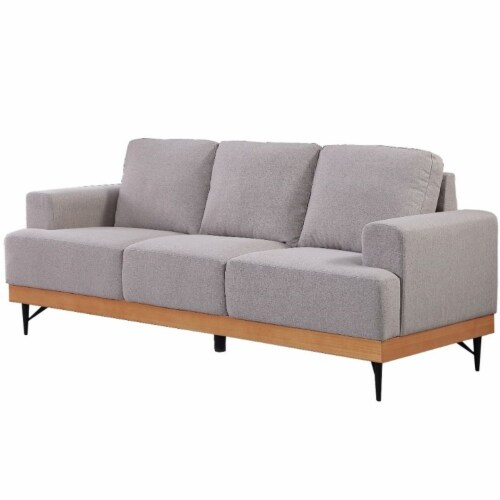 Devion Furniture Modern Fabric Loveseat in Light Gray Perspective: front
