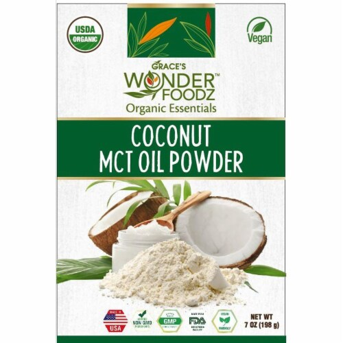 Grace's Wonder Foodz, Coconut MCT Oil Powder Perspective: front