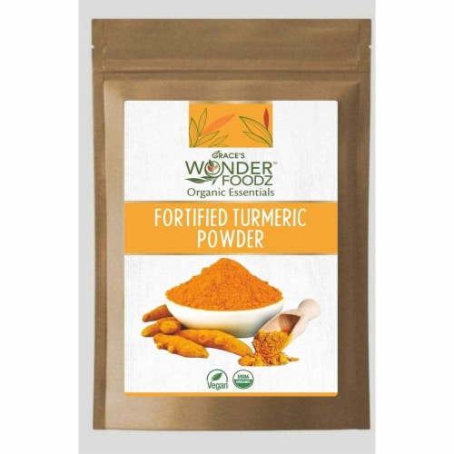 Grace's Wonder Foodz, Fortified Turmeric Powder Perspective: front