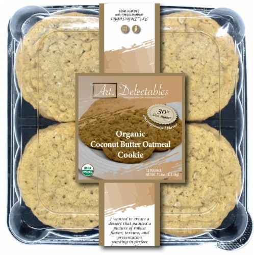 Organic Coconut Butter Oatmeal Cookie Perspective: front