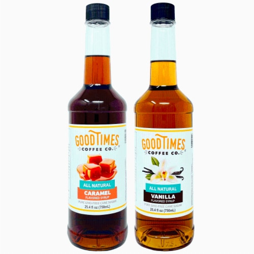 Vanilla and Caramel Syrup Variety Pack - All Natural, Vegan, Gluten-Free, Non-GMO Cane Sugar Perspective: front
