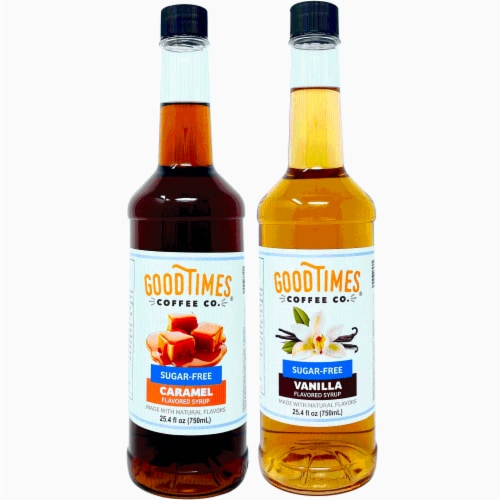 Sugar Free Vanilla and Caramel Syrup Variety Pack - Natural Flavor, Vegan, Gluten-Free Perspective: front