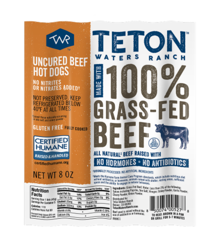 Teton Waters Ranch 100% Grass Fed Uncured Beef Hot Dogs Perspective: front