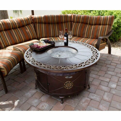 Hiland FS-2017-FPT Aluminum Round Fire Pit with Brushed Faux Wood Finish Perspective: front