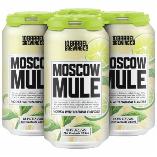 10 Barrel Brewing Moscow Mule Prepared Cocktail 4 Cans Perspective: front