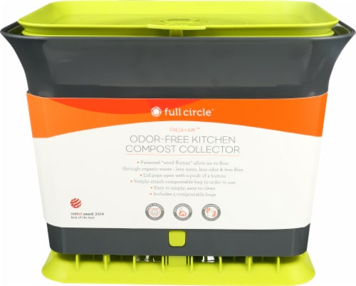 Full Circle Fresh Air Odor-Free Kitchen Compost Collector - Green / Gray Perspective: front