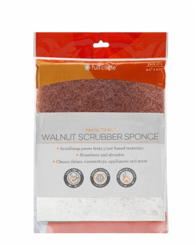 Full Circle Walnut Scrubber Sponge Perspective: front