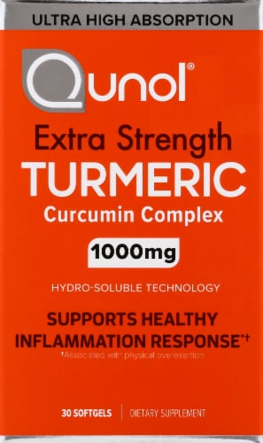 Qunol Extra Strength Turmeric Curcumin Complex Dietary Supplement Softgels 1000mg 30 Count Perspective: front