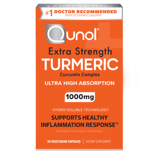 Qunol® Turmeric Ultra High Absorption Vegetarian Capsules 1000mg Perspective: front
