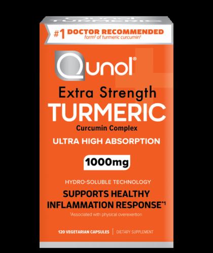 Qunol Turmeric Extra Strength Turmeric 1000mg Vegetarian Capsules Perspective: front