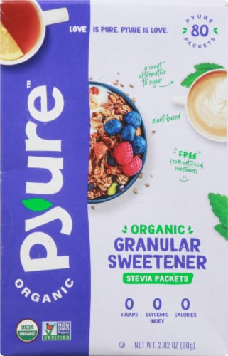 Pyure Organic Stevia Granular Sweetener Packets Perspective: front