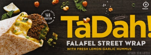 Tadah! Lemony Roasted Garlic Hummus Falafel Wrap Perspective: front