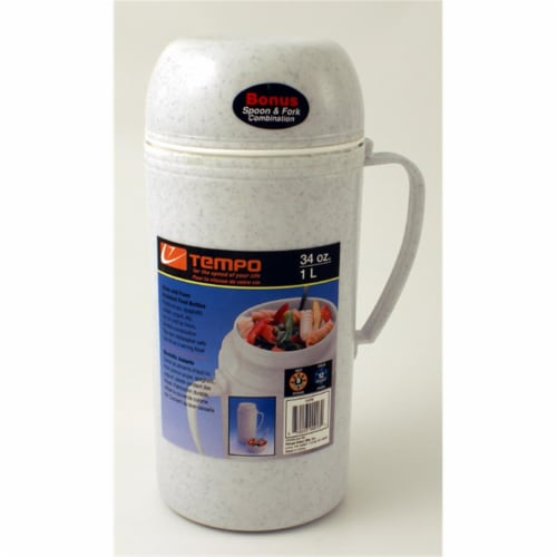 Range Kleen 10FB 34 oz. Foam and Glass Insualted Food Bottle Perspective: front