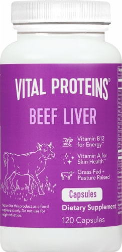 Vital Proteins Beef Liver Pasture-Raised Capsules 750 mg Perspective: front