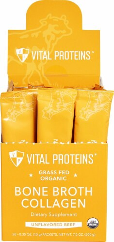 Vital Proteins  Organic Grass Fed Bone Broth Collagen   Unflavored Beef Perspective: front