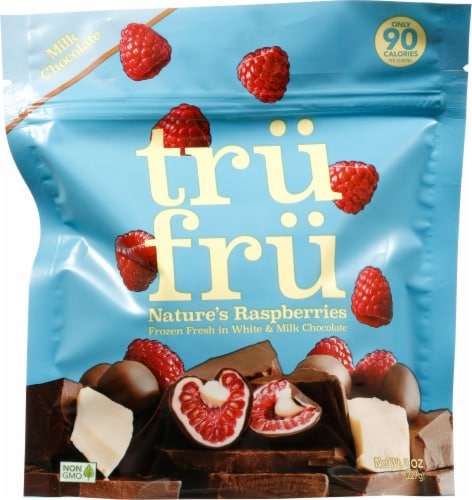 Tru Fru White & Milk Chocolate Covered Frozen Raspberries Perspective: front