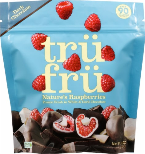 Tru Fru Frozen White and Dark Chocolate Covered Raspberries Perspective: front