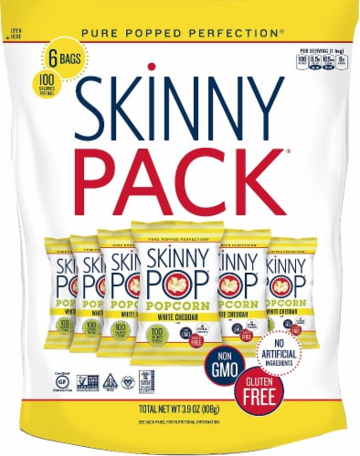 SkinnyPop White Cheddar Popcorn SkinnyPacks 6 Count Perspective: front