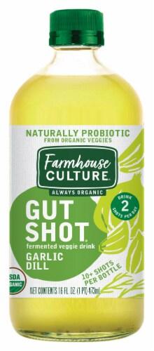 Farmhouse Culture Always Organic Gut Shot Garlic Dill Fermented Veggie Drink Perspective: front